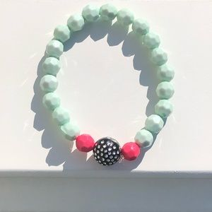Watermelon-Style Handmade Beaded Bracelet
